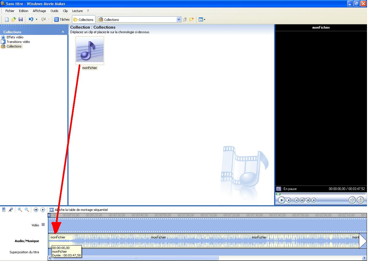"""Effectuez un """"Cliquer-Glisser"""" de votre fichier vers la bande """"Audio/Musique"""""""